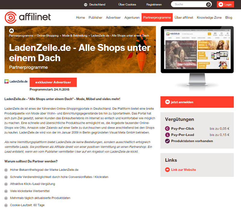 Screenshot-affilinet