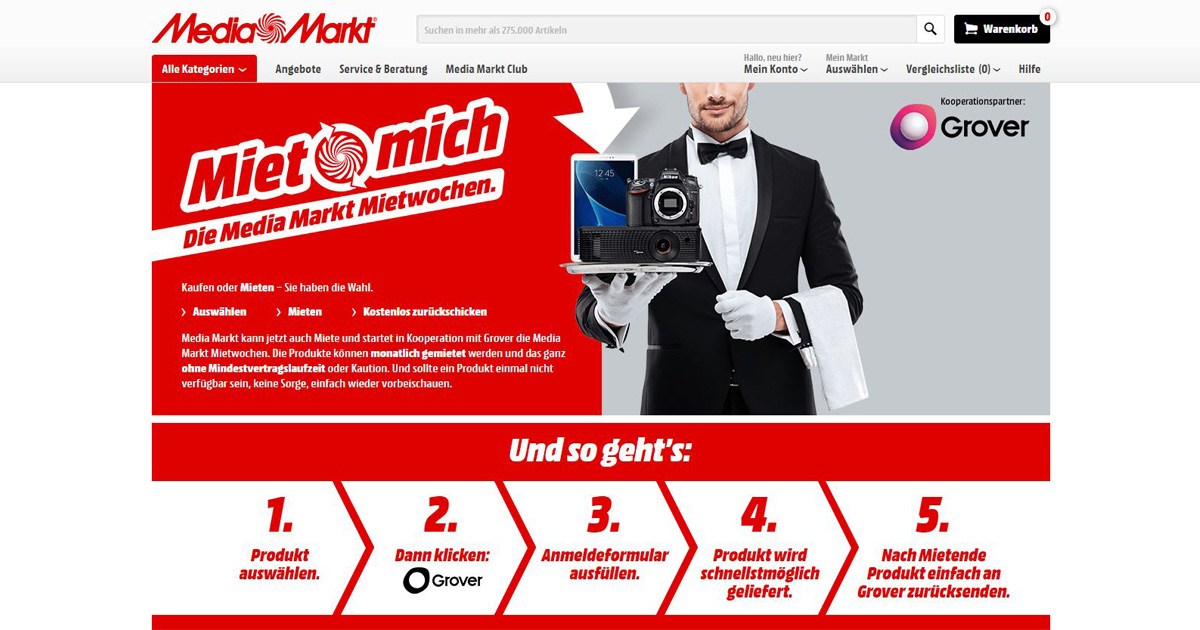 Screenshot Webseite Media Markt