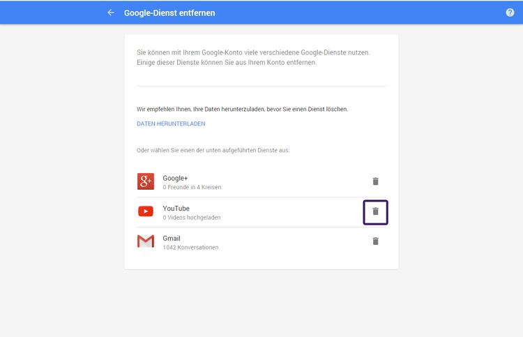 youtube konto löschen ohne zugangsdaten