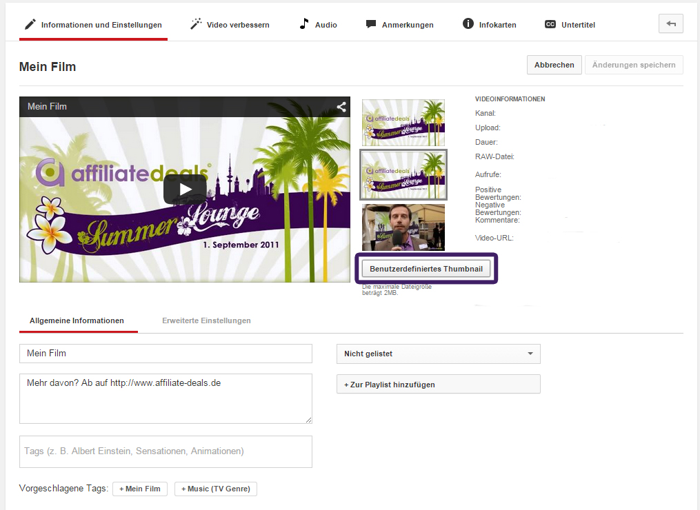 Videomanager von YouTube